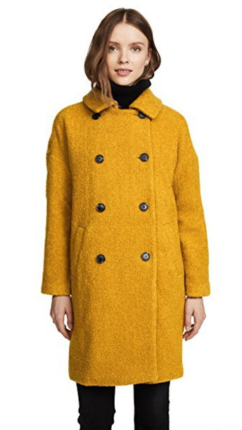 Madewell coat double breasted mustard