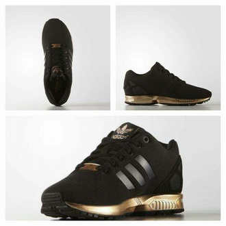 shoes sneakers adidas adidas shoes adidas zx flux zx flux black and gold adidas flux black gold