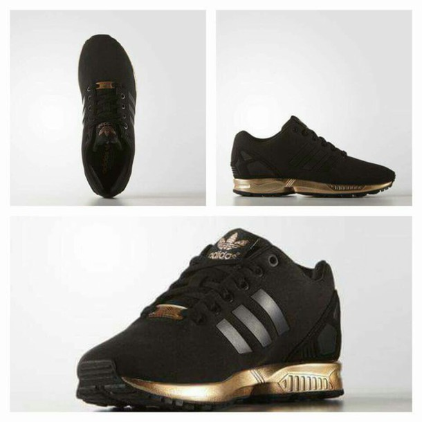 shoes sneakers adidas adidas shoes adidas zx flux zx flux black and gold  black sneakers low