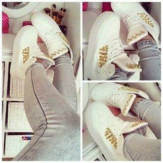 shoes white white shoes spikes spiked shoes gold gold spikes