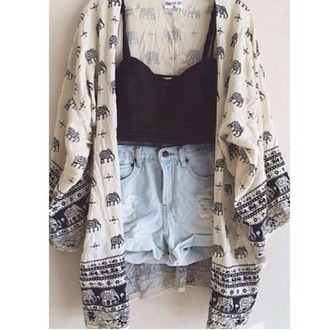 blouse cardigan denim shorts white cardigan black blouse