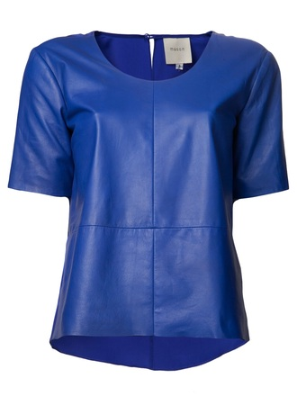t-shirt blue leather t-shirt mason leather