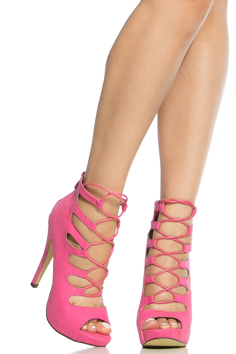 81dbff31d Fuchsia Faux Nubuck Open Toe Lace Up Heels @ Cicihot Heel Shoes online  store sales:Stiletto Heel ...