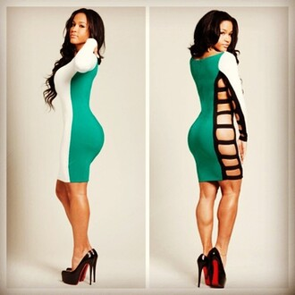 dress aliexpress bodycon cut-out dress sexy colorblock