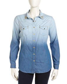 Ombre Denim Stud Shirt, Blue, Womens