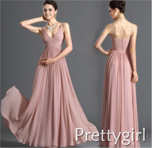ZJ0023 two shoulder v neck maxi light blue baby pink chiffon formal bridesmaid dress brides maid long 2014 plus size ruffle-in Bridesmaid Dresses from Apparel & Accessories on Aliexpress.com