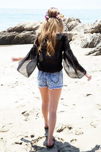 blouse chiffon top black top beach top cute outfit summer outfits beach flowy sheer