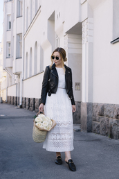 dress,tumblr,maxi dress,white lace dress,lace dress,eyelet dress,shoes,mules,gucci,gucci shoes,bag,basket bag,jacket,leather jacket