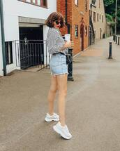 shorts,denim shorts,short shorts,white sneakers,striped shirt,long sleeves,cat eye