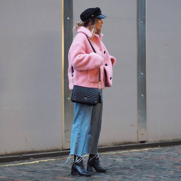 jacket hat tumblr pink jacket fuzzy jacket denim jeans blue jeans cropped jeans fisherman cap bag black bag boots black boots