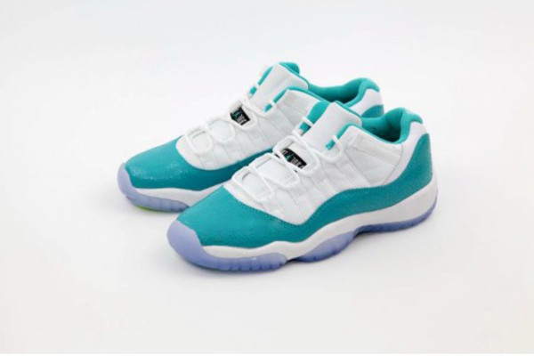 shoes air jordan jordan 11S 11 lows aqua safari white blue sway
