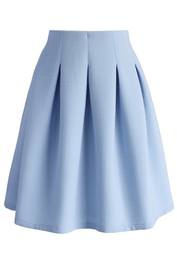 Blue Pleated Skirt - Skirts