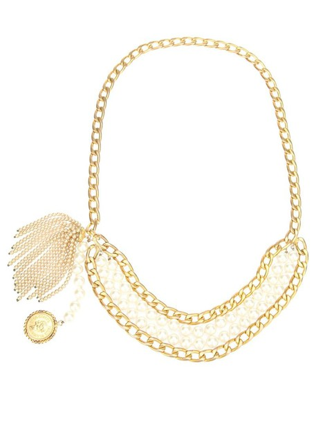 CHANEL VINTAGE pearl belt metallic