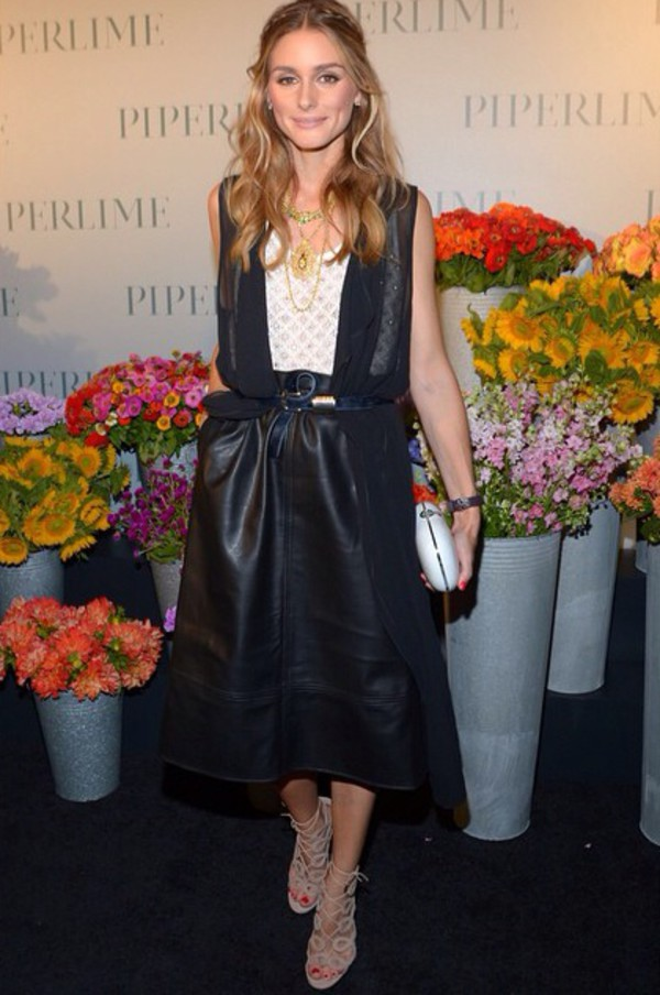 skirt leather skirt leather olivia palermo fashion week 2014 top