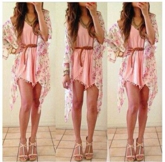romper boho boho chic fashion pink urban outfitters cardigan floral cardigan pink dress bohemian boho dress urban