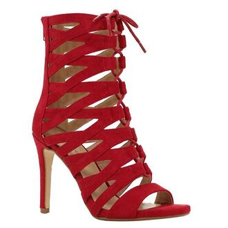 shoes celebrity red lace-up shoes booties caged