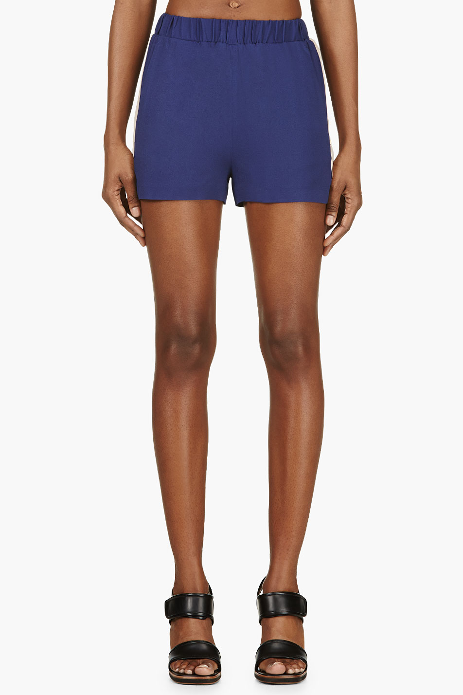 msgm blue and rose crepe bermuda shorts