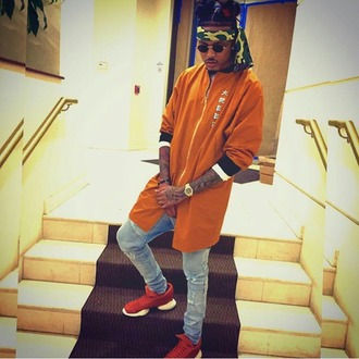 jacket august alsina menswear orange mens pants mens jeans mens shoes red sneakers celebrity mens jacket