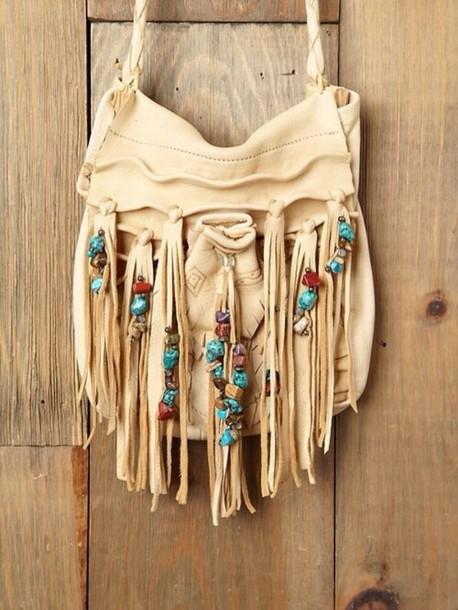bag hippie brown creme bag creme stones summer hot sun dancing indie