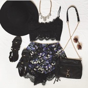 shorts,black,black crop top,hat,shoes,jewels,top,home accessory,peter pan collar,fashion,whole outfit,crop-top
