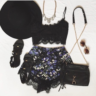 shorts black black crop top