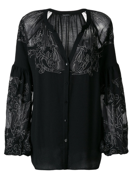 WANDERING blouse embroidered women black silk wool top
