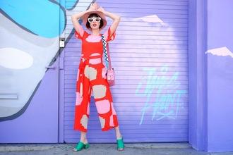 a fashion nerd blogger sunglasses jumpsuit jewels shoes bag pink bag shoulder bag mules summer outfits
