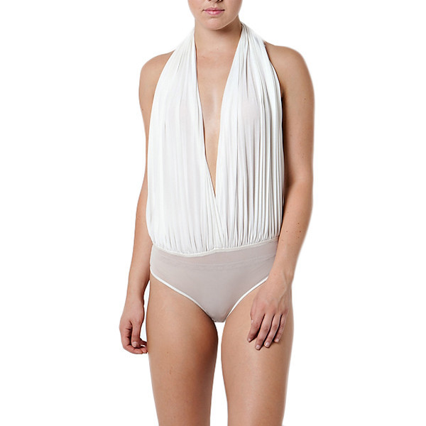 White halter front pleated bodysuit