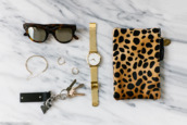 andy heart,blogger,bag,jewels,sunglasses,larsson and jennings,gold watch,makeup bag,animal print bag