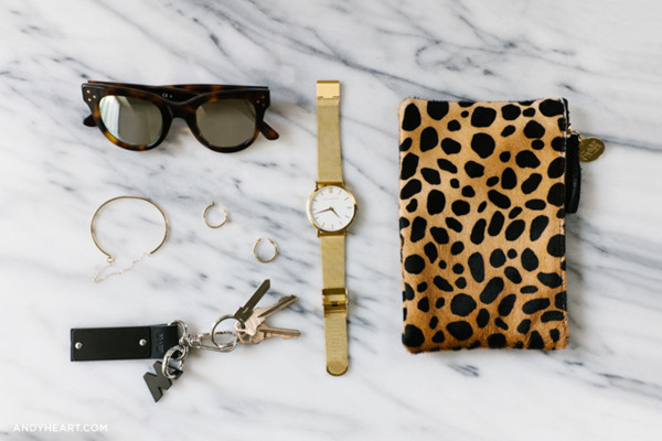 andy heart blogger bag jewels sunglasses larsson and jennings gold watch makeup bag animal print bag