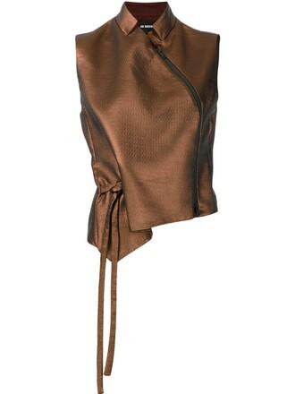 blouse sleeveless brown top