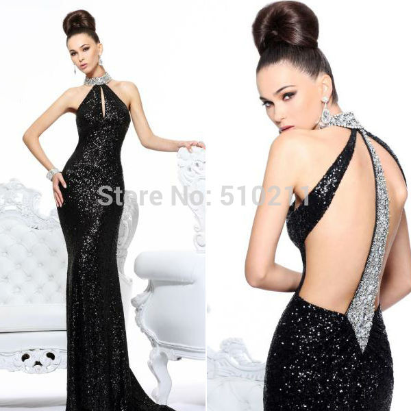 Aliexpress.com : Buy Sexy Black Sequins Sparkly With Beaded Halter Neck Front Keyhole Mermaid Natural Waist Floor Length Backless Long Evening Dress from Reliable spark material suppliers on Parislover dresses