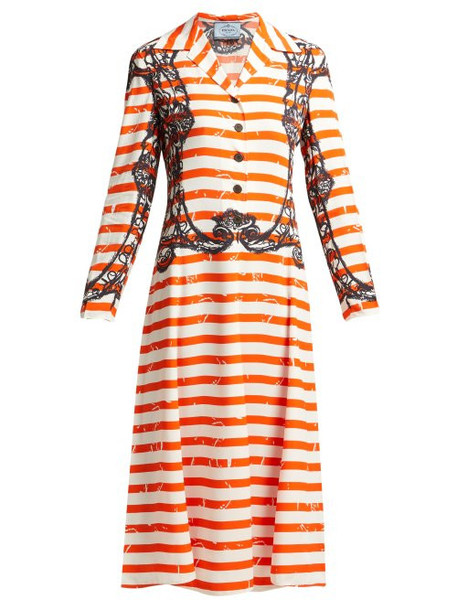 Prada - Striped Twill Dress - Womens - Orange Print