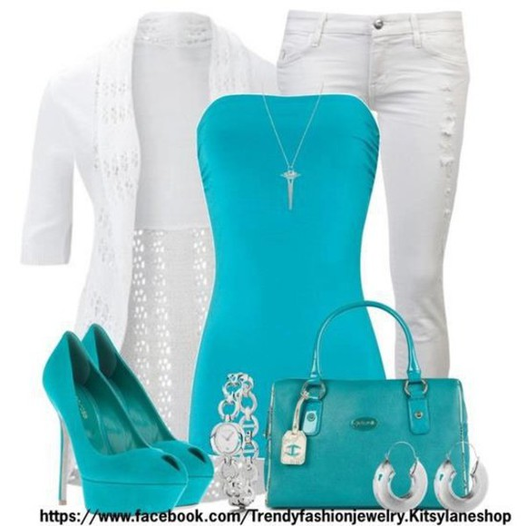 white cardigan shirt aqua dress aqua aqua blue aqua high heels white jeans