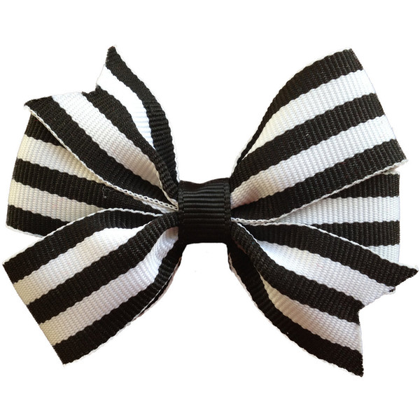 Black & white striped hair bow - Polyvore
