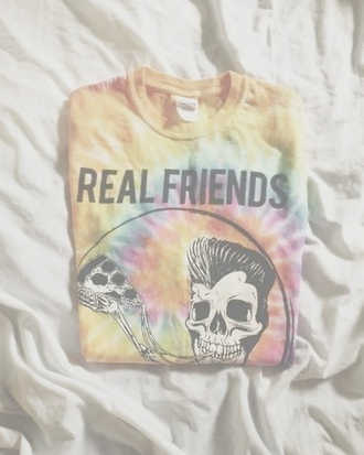 t-shirt pizza skull skeleton hairstyles round real friends real friends yellow orange shirt top young youth grunge alternative indie classy yeah tie dye