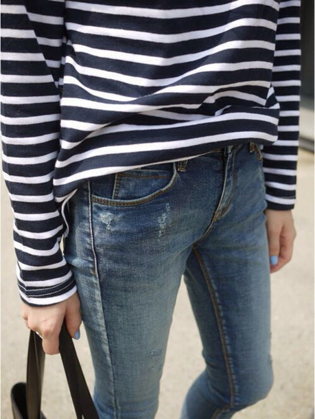 top stripes long sleeves jeans