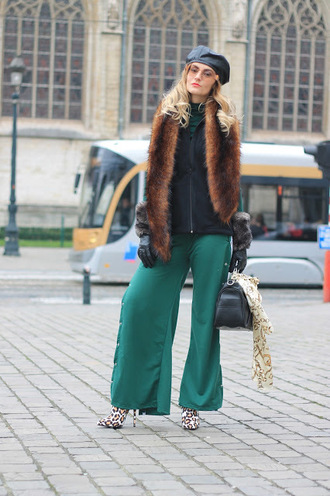 from brussels with love blogger jacket blouse pants shoes bag beret fur scarf green pants handbag winter outfits hat