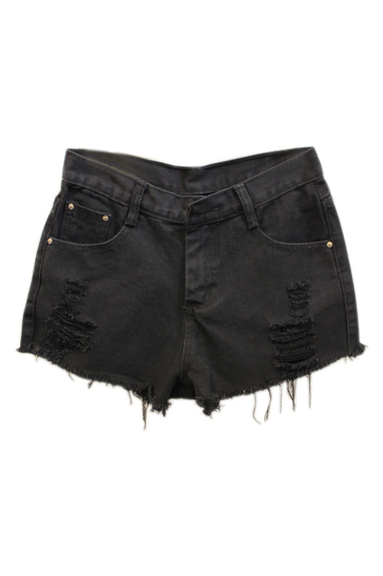ROMWE | Romwe Shredded Black Denim Shorts, The Latest Street Fashion