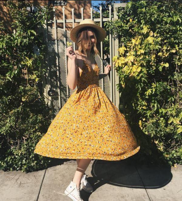b7865ed05b33 dress midi dress acacia brinley sneakers floral dress floral spring outfits  spring dress.
