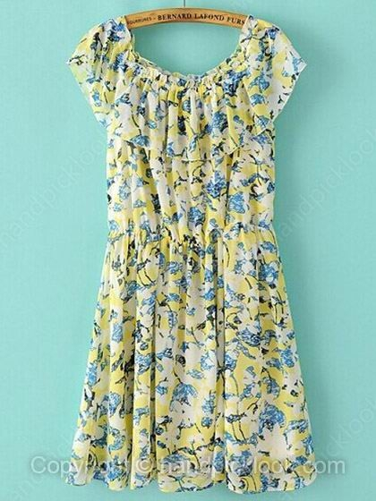 Yellow Round Neck Sleeveless Floral Print Chiffon Dress - HandpickLook.com