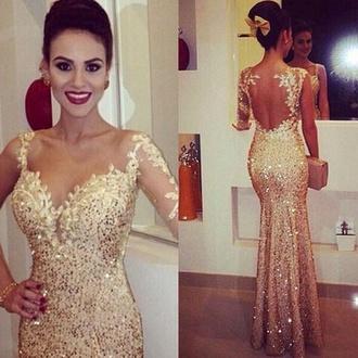 dress gold prom dress