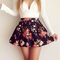 Deep v-neck floral skater dress|disheefashion