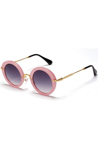 Pink Round Frame Tinted Lenses Retro Sunglasses
