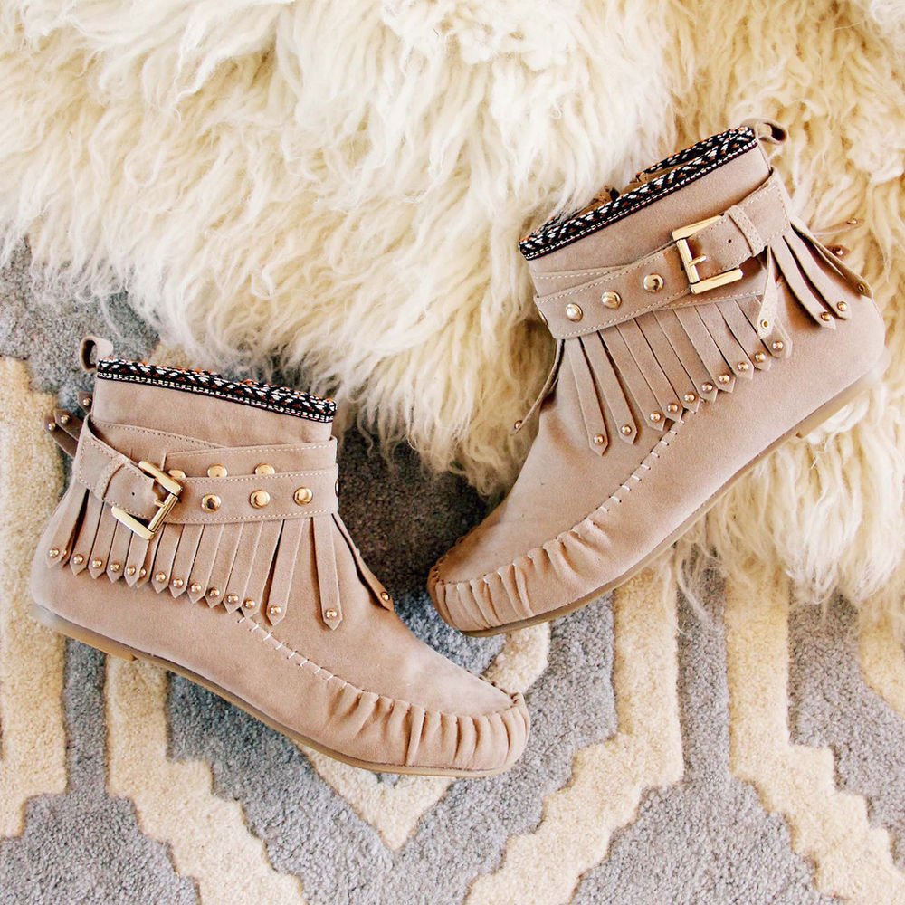 Tribal Touch Taupe Fringe Moccasin Boots