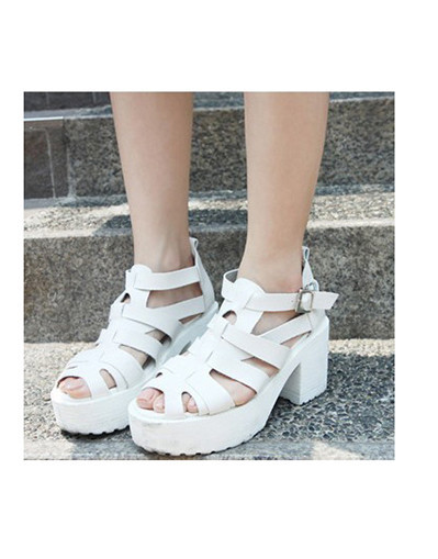 Chunky sandals white black spring summer shoes leather flat platform