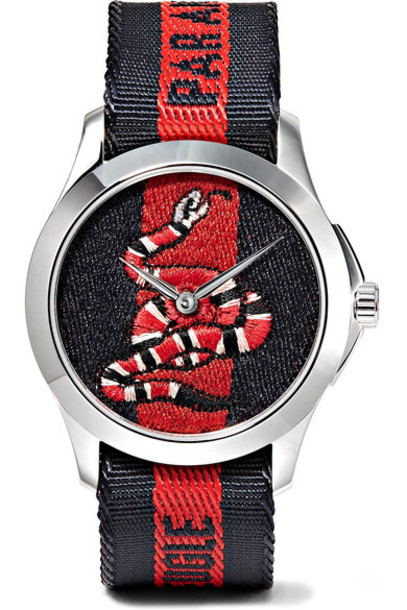 embroidered watch red jewels