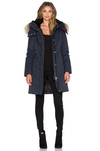 jacket fur sheepskin navy