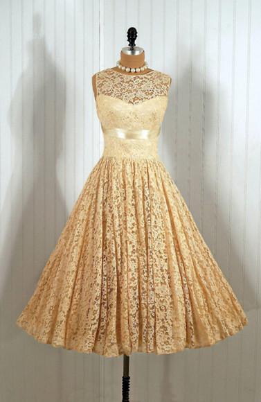 dress ribbon lace vintage ballgown tea length clothes: wedding
