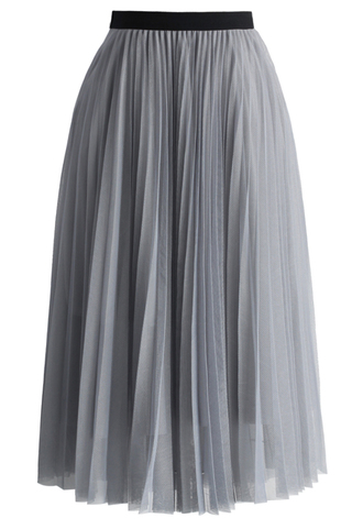 skirt dreamy grey mesh pleats tulle skirt chicwish tulle skirt grey